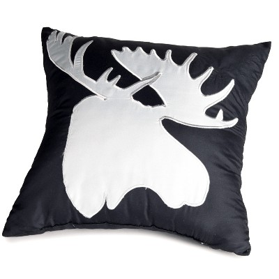 "Lakeside Home Sweet Home Lodge Lifestyle 16"" Accent Pillow with Moose Motif"