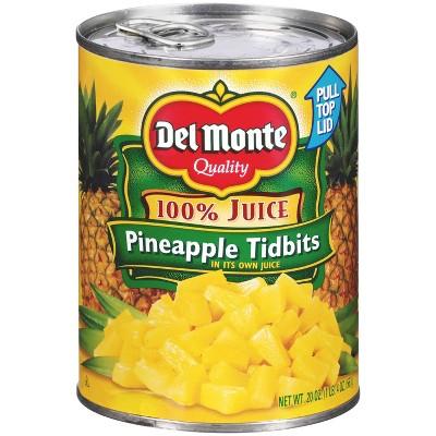 Del Monte Pineapple Tidbits in 100% Juice 20oz