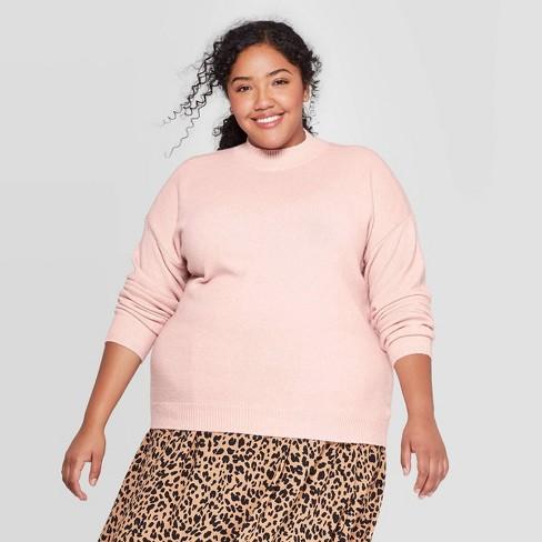 Women's Plus Size Mock Turtleneck Pullover Sweater - Ava & Viv™ - image 1 of 2
