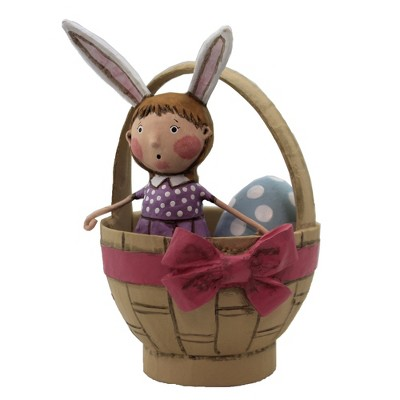 "Lori Mitchell 6.5"" Easter Greetings Bunny Ears Basket Egg  -  Decorative Figurines"
