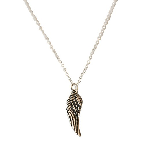 "Zirconite Angel Wing Charm Pendant Necklace Silver - 16"" - image 1 of 1"