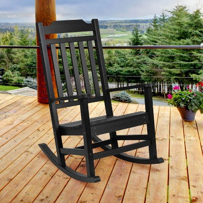 Emma and Oliver All-Weather Rocking Chair in Faux Wood - Patio and Backyard Furniture
