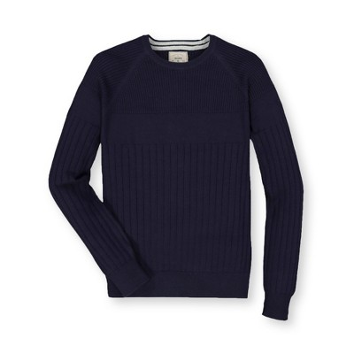 Hope & Henry Mens' Textured Raglan Crewneck Sweater