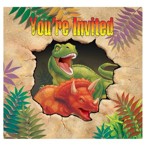 8ct Dino Invitations Target