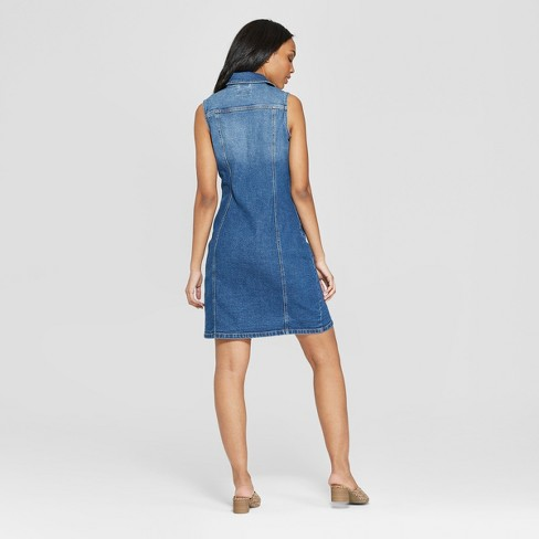 Women s Sleeveless Button Front Denim Dress - Universal Thread™   Target a12f0a944