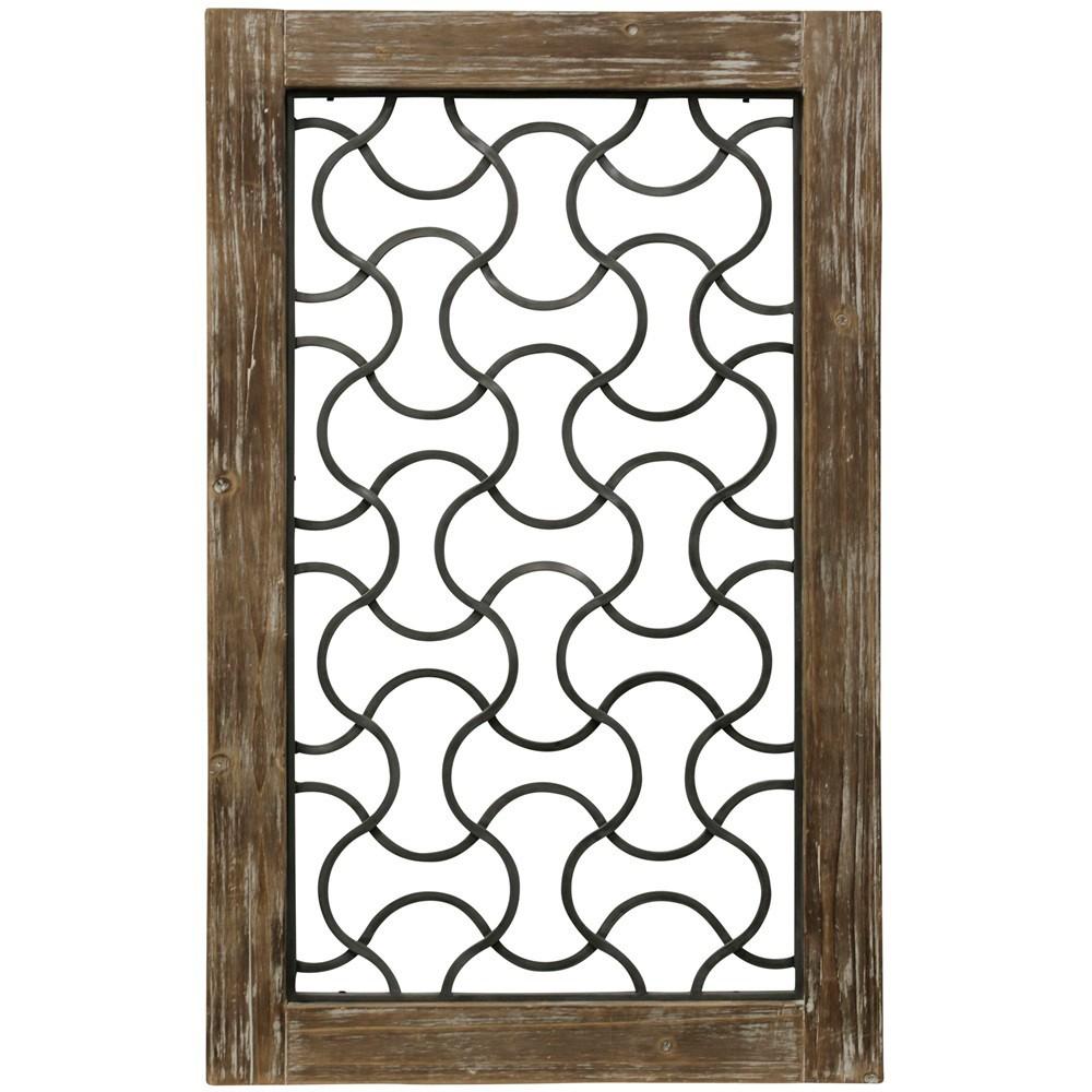 37.5 Wood Framed Metal Grate 3 Decorative Wall Art Buff Beige - StyleCraft