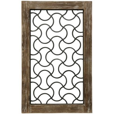 37 5 Wood Framed Metal Grate 3 Decorative Wall Art Buff Beige