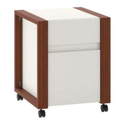 Voss 2 Drawer Mobile File Cabinet Cotton White and Serene Cherry - Kathy Ireland Home
