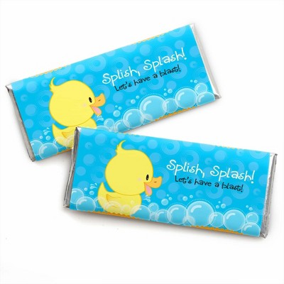 Big Dot of Happiness Ducky Duck - Candy Bar Wrappers Baby Shower or Birthday Party Favors - Set of 24