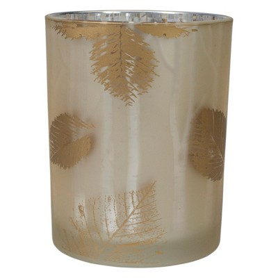 "Northlight 5"" Matte Gold and White Birch Flameless Glass Candle Holder"