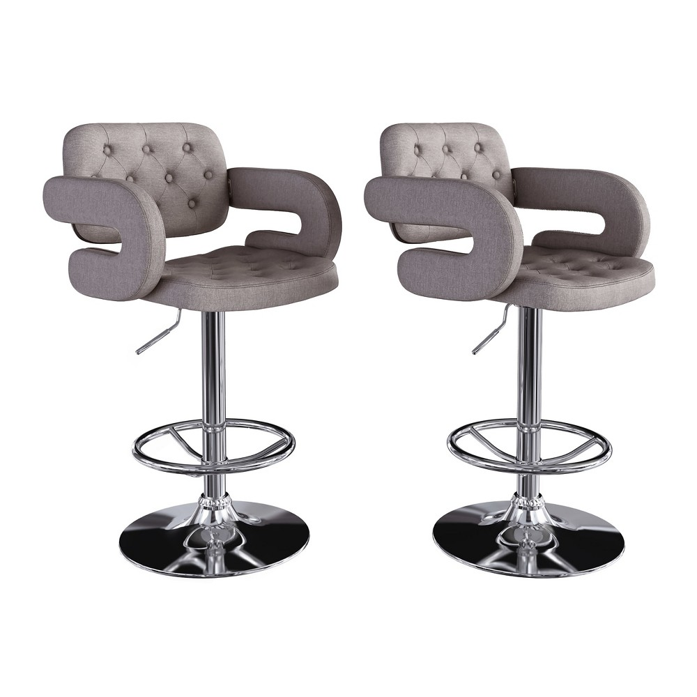 Adjustable Tufted Fabric Barstool with Armrests Gray Set of 2 - CorLiving, Grey