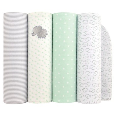 Baby Boys' 4pk Elephant Flannel Blanket - Just One You™ Made by Carter's® Green