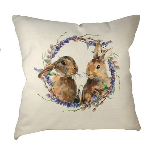 Home Decor 20 0 Two Bunnies In Wreath Pillow Cottage Easter Decorative Pillow Target