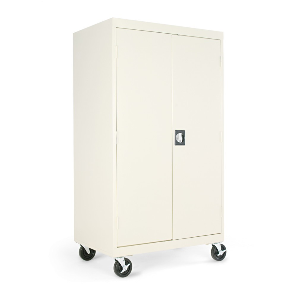 Image of Alera Mobile Storage Cabinet, w/Adjustable Shelves 36w x 24d x 66h, Putty, Gray