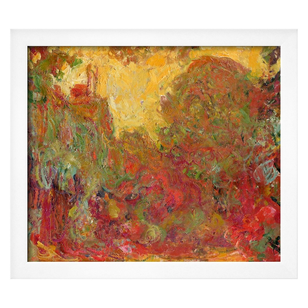 Art.com The House Seen from the Rose Garden, 1922-24 by Claude Monet - Framed Giclee Print, Red