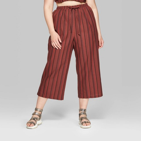 f7af57d7b7 Women's Plus Size Striped Pull On Beach Wide Leg Pants - Wild Fable™  Burgundy/Brown