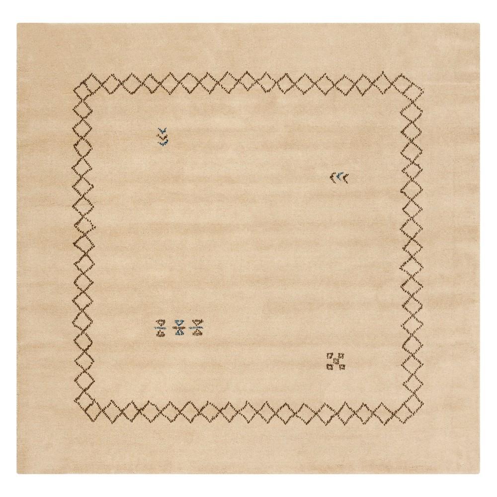 6x6 Geometric Design Loomed Square Area Rug Beige - Safavieh Coupons