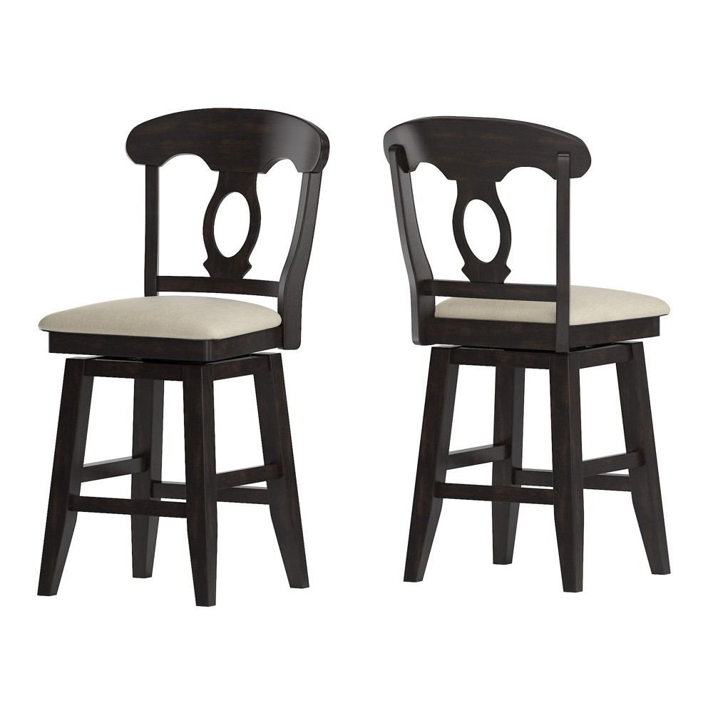 """Image of """"24"""""""" South Hill Napoleon Back Swivel Counter Height Chair Black - Inspire Q"""""""