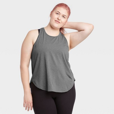Women's Plus Size Racerback Essential Tank Top - All in Motion™ Charcoal Gray 3X