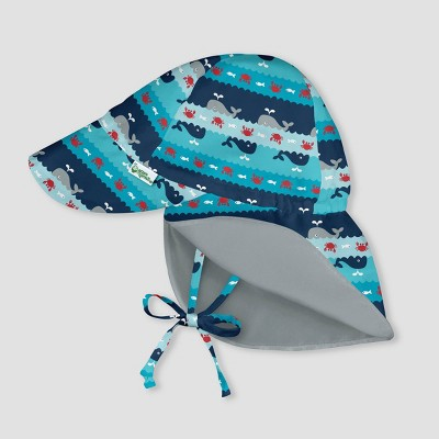 i play by green sprouts Baby Boys' Reversible Flap Hat - Whale Stripe Navy/Aqua/Gray 0-6M