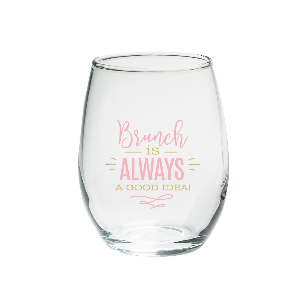 """Image of """"Kate Aspen Set Of 4 """"""""Brunch Is Always A Good Idea"""""""" Stemless Wine Glass Clear"""""""