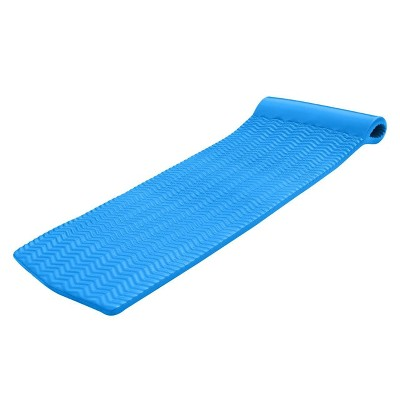 TRC Recreation Serenity 70 Inch Foam Full Size Mat Raft Lounger Swimming Pool Float with Pillow Headrest for Pool or Lake, Bahama Blue