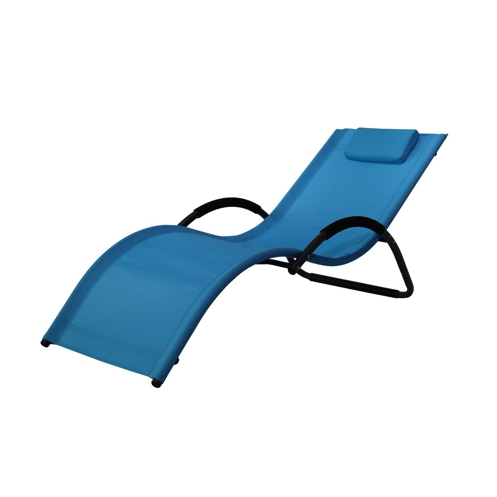 Image of Cruz Outdoor Patio Lounger Blue - Relax-A-Lounger