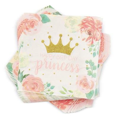 Blue Panda 100-Pack Princess Flower Disposable Paper Napkins Party Supplies Pink