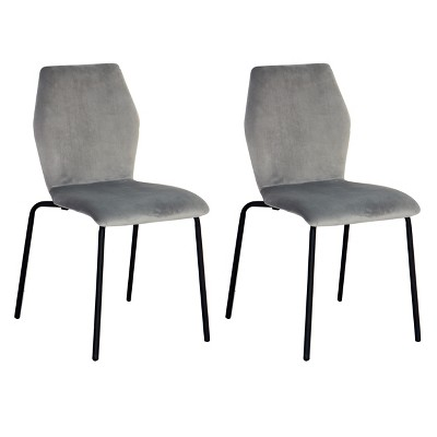 Set of 2 Velvet Dining Chair Set Ash Gray - Acessentials