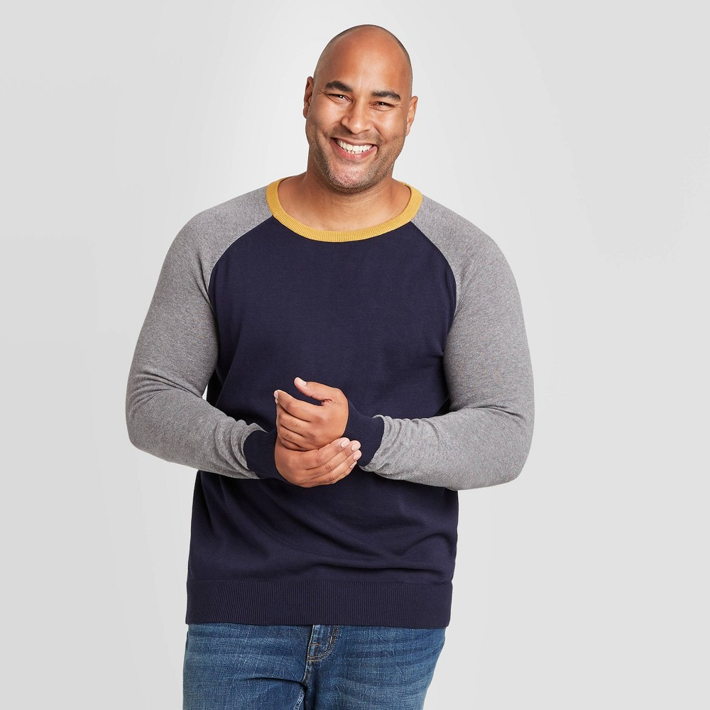 Best Men's Colorblock Big & Tall Regular Fit Crewneck Sweater - Goodfellow & Co™