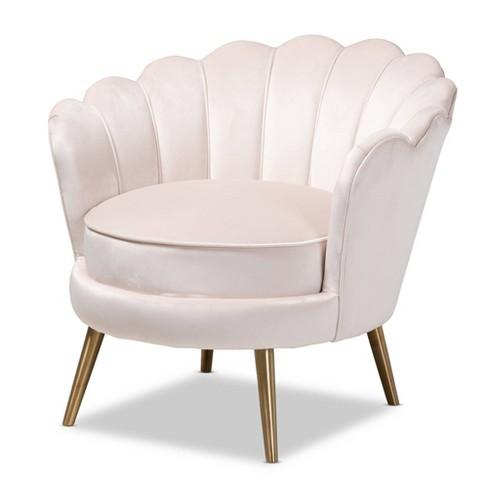Cosette Velvet Upholstered Chair Light Beige/Gold - Baxton Studio - image 1 of 4