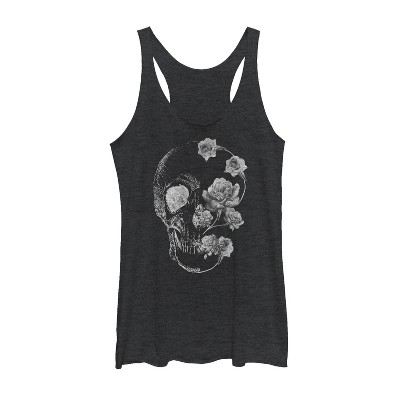 Women's Lost Gods Rose Skull Portrait Racerback Tank Top