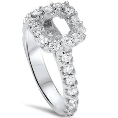 Pompeii3 1/2ct Princess Cut Engagement Diamond Ring Setting 14K White Gold