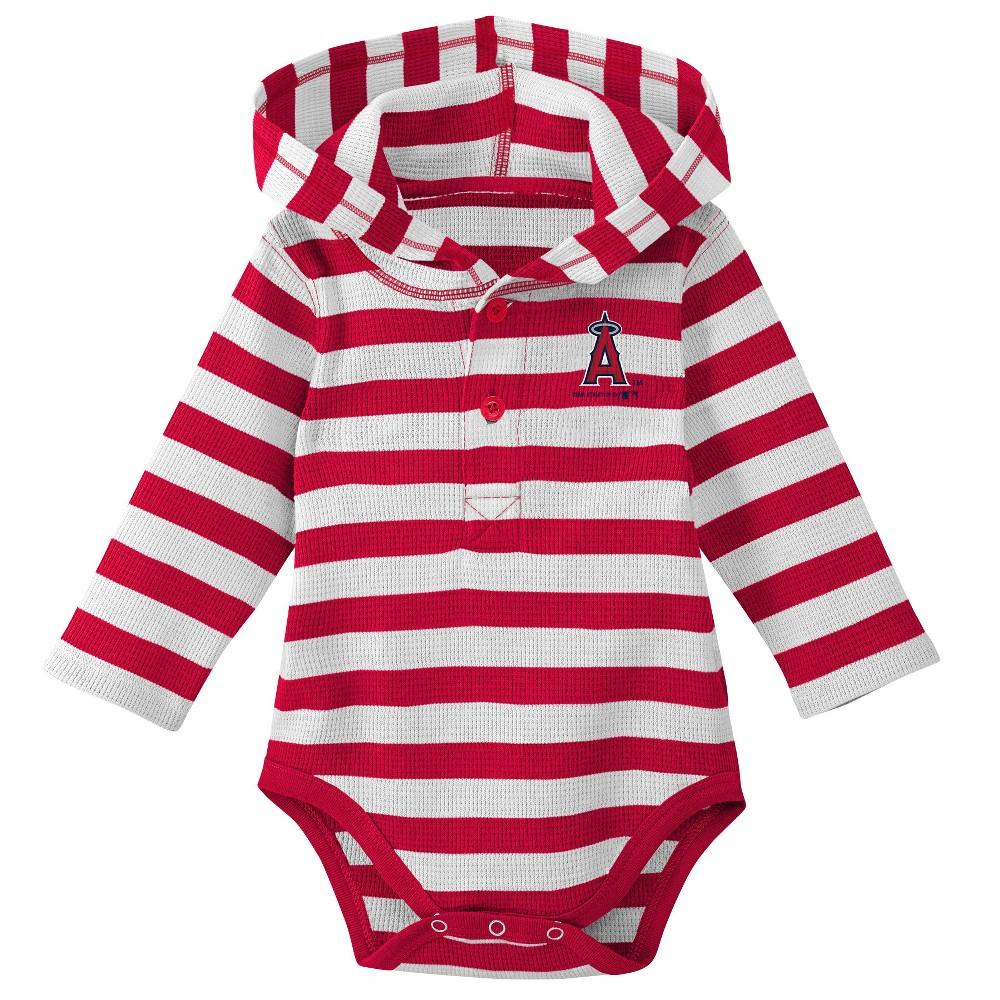 Los Angeles Angels Boys' Striped Long Sleeve Hooded Bodysuit - 0-3M, Multicolored