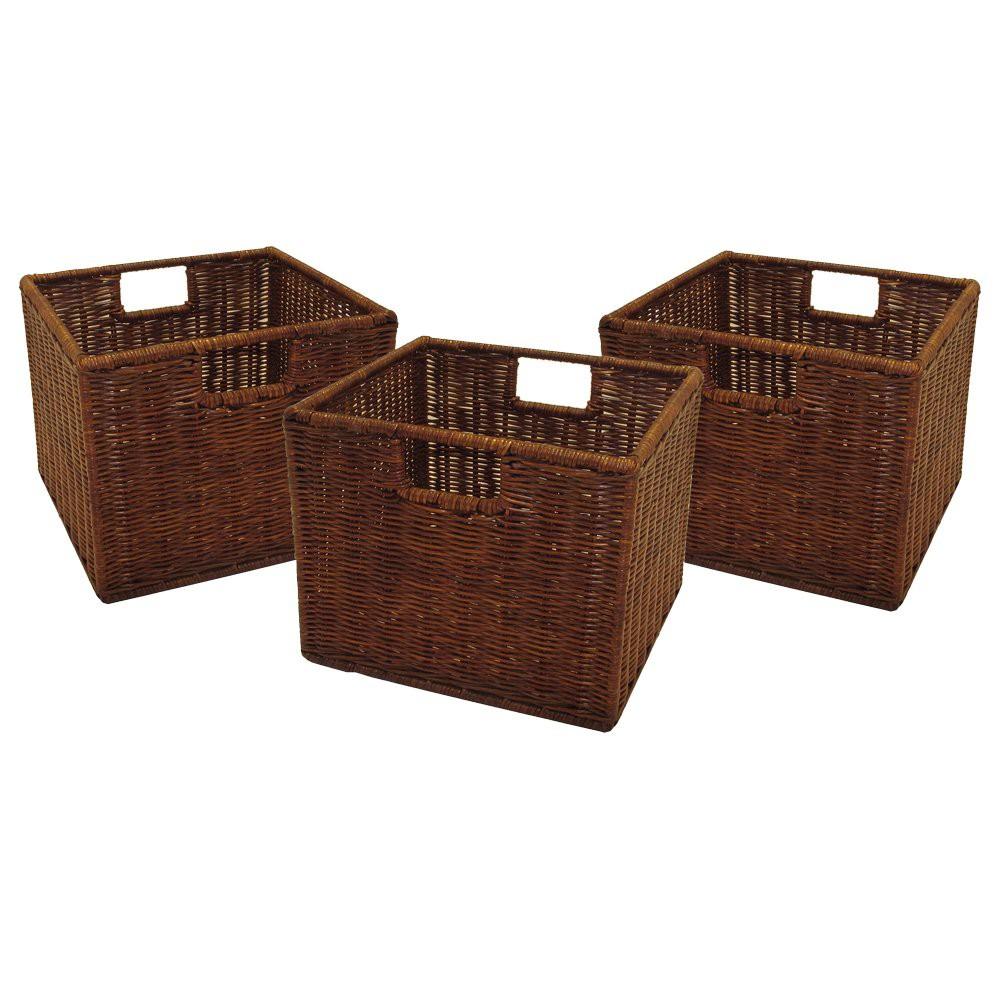 Set Of 3 Winsome Cube Storage Basket Antique Walnut