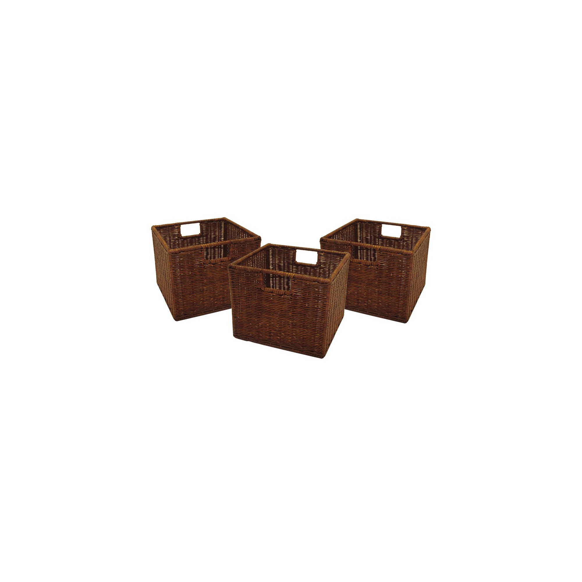 Set of 3 Winsome Cube Storage Basket - Antique Walnut, Brown