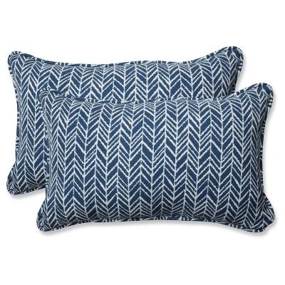 Outdoor/Indoor Herringbone Ink Blue Rectangular Throw Pillow Set of 2 - Pillow Perfect