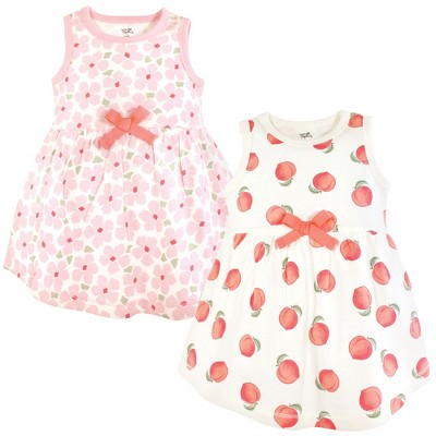 Touched by Nature Baby and Toddler Girl Organic Cotton Sleeveless Dresses, Peach