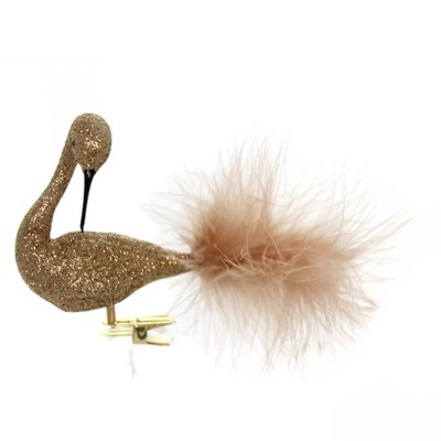 """Golden Bell Collection 3.5"""" Copper Glittered Swan Christmas Ornament Clip-On  -  Tree Ornaments"""
