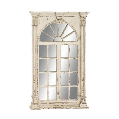"33"" x 52"" Extra Large Rectangular Antique Window Framed Wall Mirror White - Olivia & May"