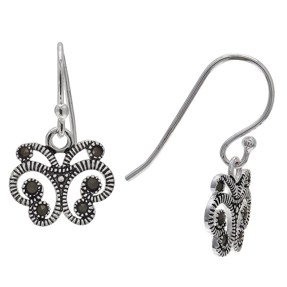 Women's Oxidized Butterfly Drop Earrings in Sterling Silver - Gray