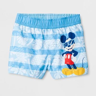 Baby Boys' Disney Mickey Mouse Swim Trunks - Turquoise 6-9M