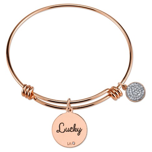 Women S Stainless Steel Lucky Elephant Expandable Bracelet Rose Gold 8 Target