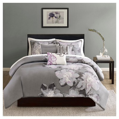Gray/Purple Jasmine Watercolor Floral Duvet Cover Set King 6pc