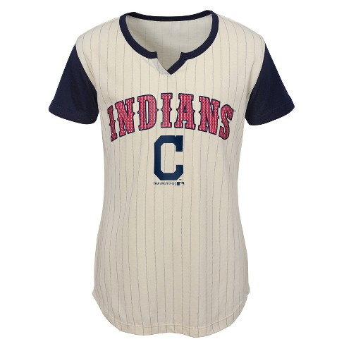 on sale b73e5 022b3 MLB Cleveland Indians Girls' In the Game Cream Pinstripe T-Shirt
