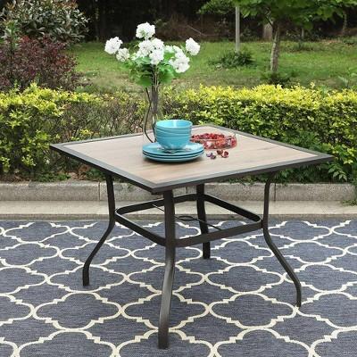 "37""x37"" Square Patio Dining Table with Umbrella Hole - Captiva Designs"