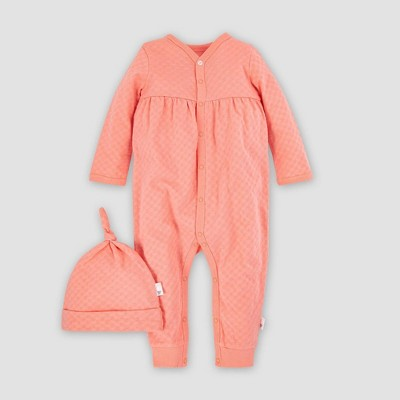 Burt's Bees Baby® Baby Boys' Organic Cotton Hexagon Pointelle Jumpsuit and Knot Top Hat - Pink 3M