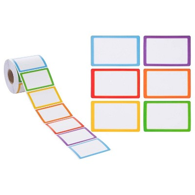 Juvale  600-Count Colorful Name Tag Labels Stickers for Classroom, 6 Assorted Color, 3.5 x 2 in