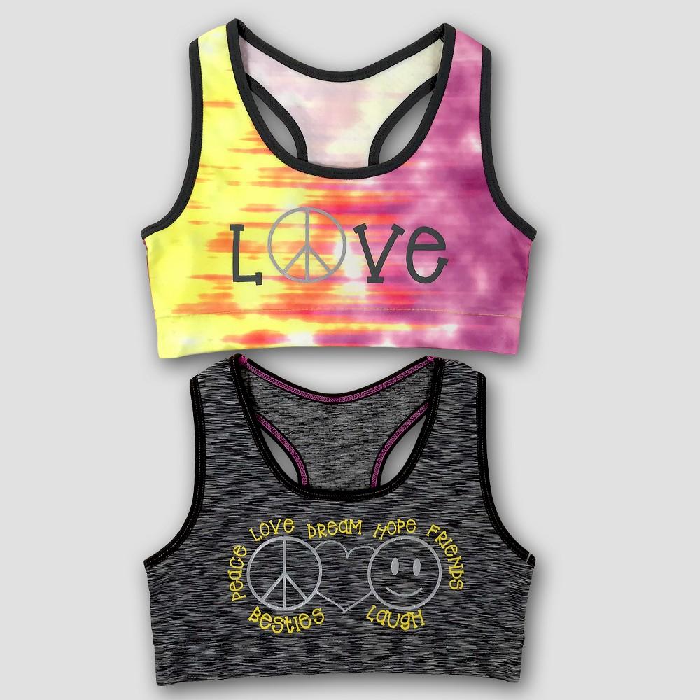 Girls' Peace Love 2pk Sports Bra - L, Multicolored