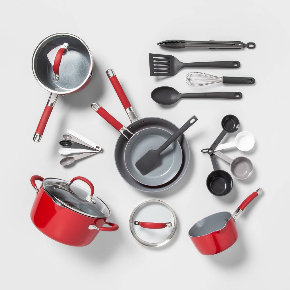 Image of 22pc Ceramic Cookware Set Red - Made By Design